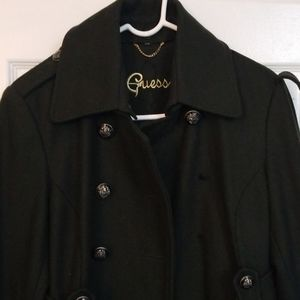 Guess wool blend peacoat, belted & subtly pleated